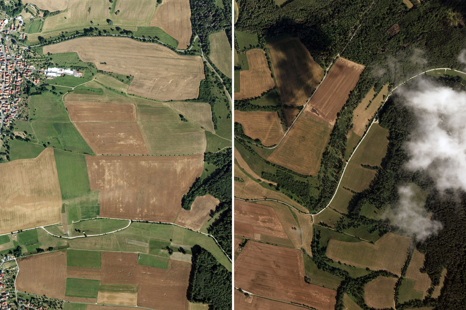 On the left: The ideal aerial photograph - shadow-free with excellent sun position. On the right: This is not how it should be looking. Such aerial images fail the quality check.