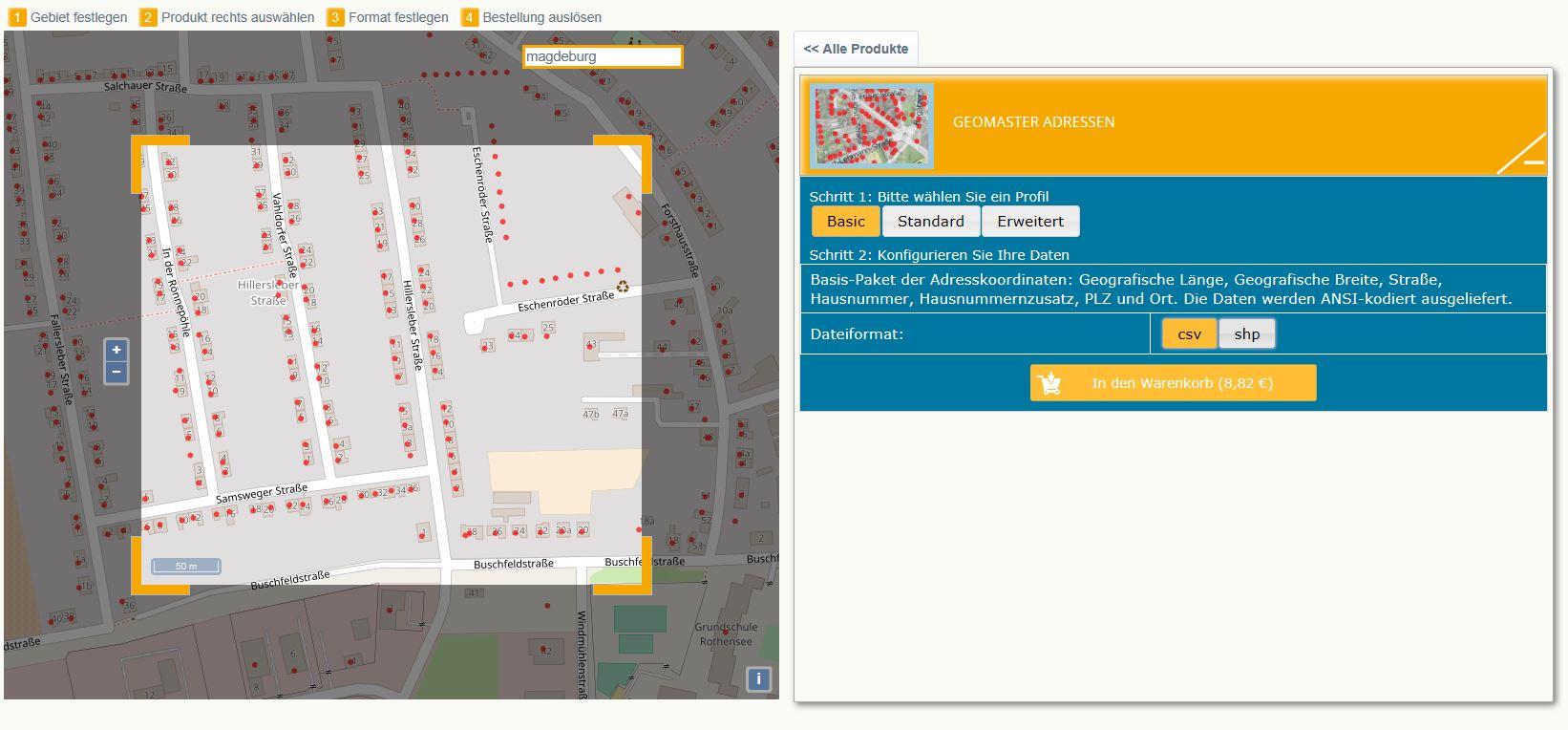 Die hausgenauen Gebäudekoordinaten können Sie im GeoShop in den Produktpaketen: Basic, Standard oder Erweitert abrufen.