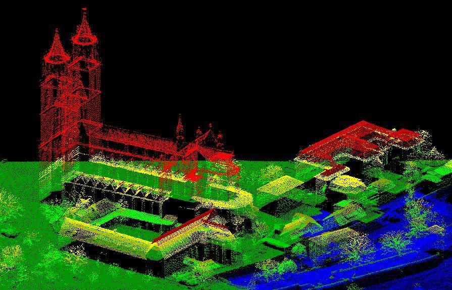 Dom in Magdeburg //  Laserscanbild, strukturiert nach Höhenklassen.