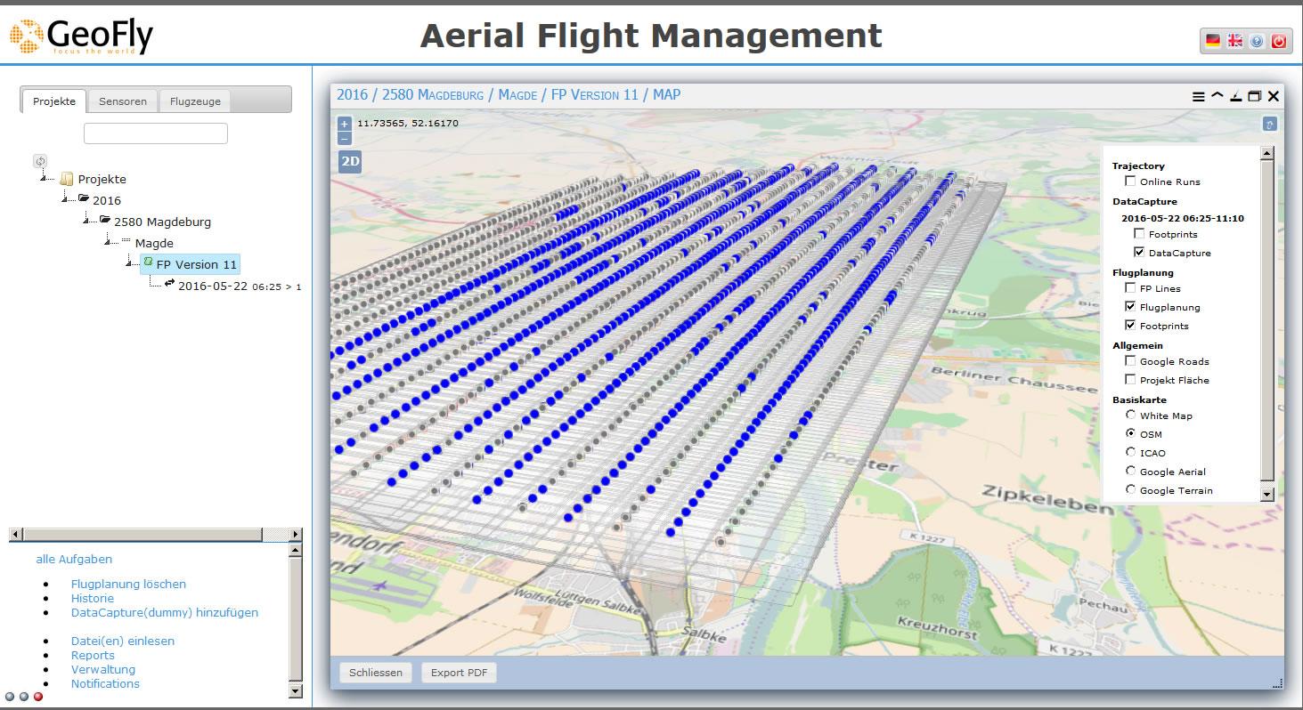 Anhand der 3D Darstellung der Flugplanung, kann die Qualitätssicherung bei der Datenaufbereitung übersichtlich erfolgen.