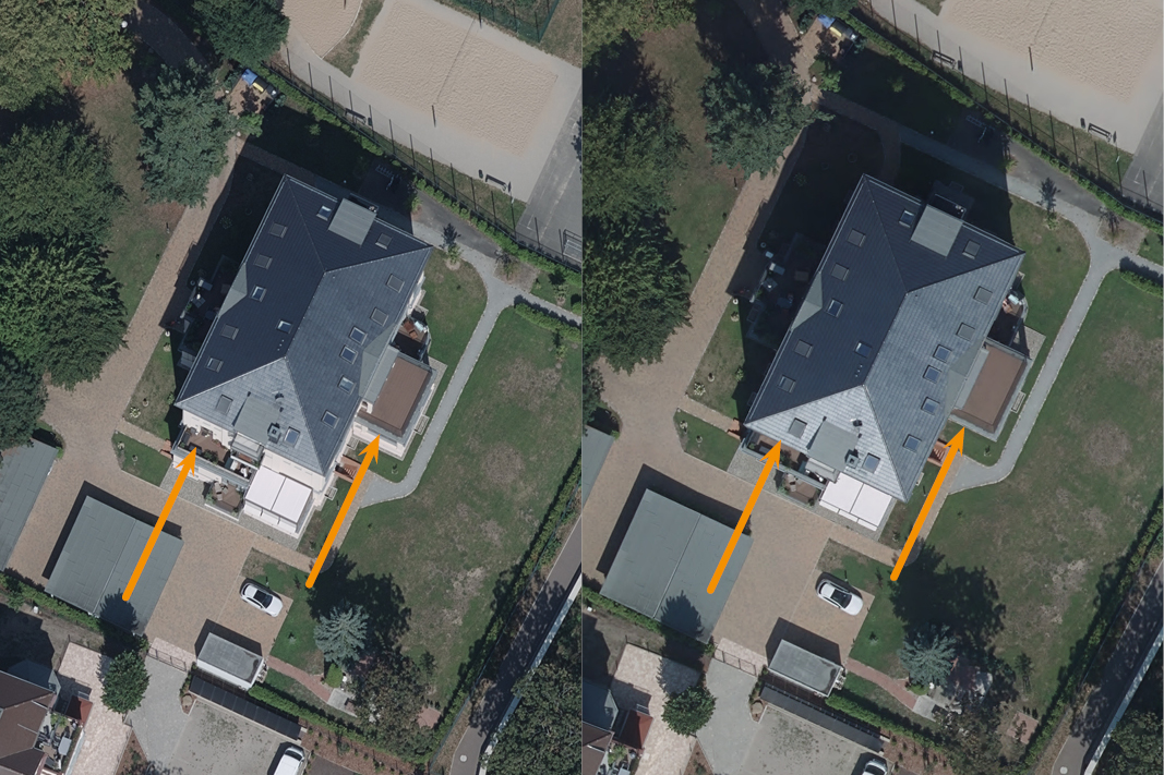Comparison orthophoto and true orthophoto: in the right picture the roof of the building is directly above its ground plan.