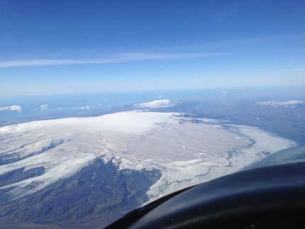 Vulkan Katla, bedeckt von meterdicken Eisschichten.